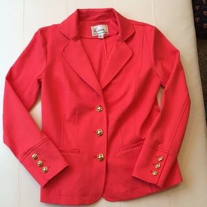 Coral blazer with gold buttons